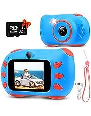 RUMIA kindercamera fotoapparaat kinderen digitale camera met 2 inch IPS-scherm, 1080P HD, 32G TF-kaart geschenken speelgoed voor jongens en meisjes (blauw)