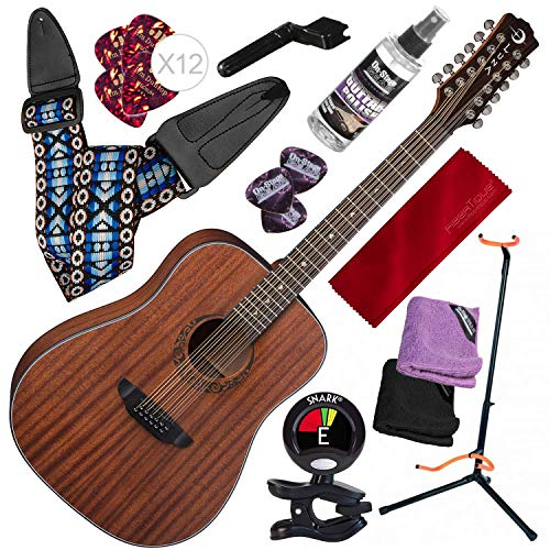 - Luna Gypsy Dreadnought 12-String Mahogany Acoustic Guitar with Professional Stand and Deluxe Bundle