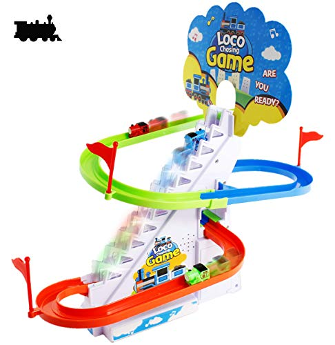 (Haktoys Loco Chasing Game with LED Flashing Lights & Music On/Off Button for Quiet Play | Fun Locomotive Train Slide Playset | Safe and Durable, Great Gift for Toddlers and)