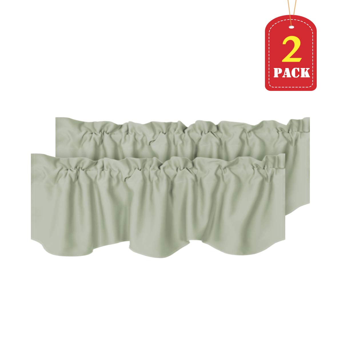 H.VERSAILTEX Window Treatment Curtain Valances Thermal Insulated Valances for Living Room, Rod Pocket, Scalloped, 2 Pack, Sage, 52 x 18 - Inch