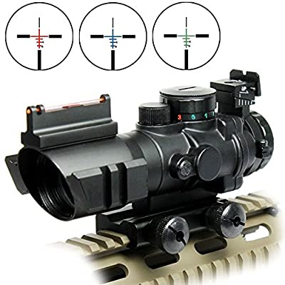 OTW Rifle Scope 4x32 Red-Green-Blue Triple Illuminated Rapid Range Reticle Scope With Top Fiber Optic Sight by OTW