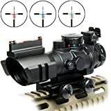 Rifle Scope Tactical 4x32 Red-Green-Blue Triple Illuminated Rapid Range Reticle Scope With Top Fiber Optic Sight