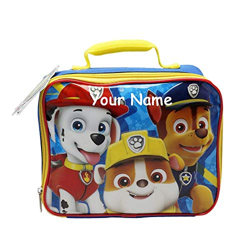 Personalized Nickelodeon Paw Patrol Characters Marshal Chase and Rubble Back to School Insulated Lunchbox Lunchbag with Custom Name