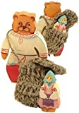 "Goldilocks and One Bear - 2 pc Set Masha And Bear - Russian Wooden Fairytale Character Figurines - Twiggen Basket - 5"" Tall"