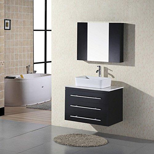 Design Element Elton 24 Inch Wall Mount Single Vessel Sink Vanity With Glass Top Steam Shower
