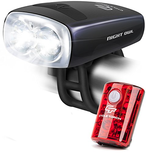 Cycle Torch Night Owl USB Rechargeable Bike Light Set, Perfect Commuter Safety Front and Back Bicycle Light LED Combo - Free Bright Tail Light - Compatible with Mountain, Road, Kids & City Bicycles (Best Road Bike Front Light)