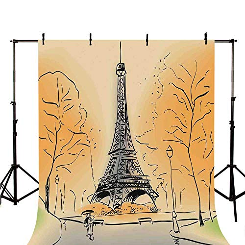 Paris City Decor Stylish Backdrop,Paris Eiffel Tower with Autumn Leaves in Artistic Sketching Effect Holiday Landmark for Photography,118