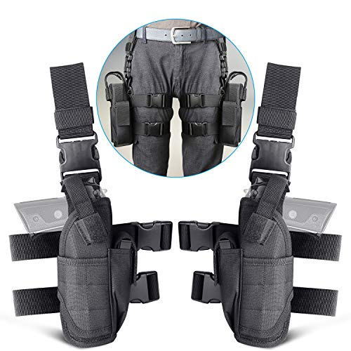 (aokur Tactical Pistol Leg Holster, Adjustable Airsoft Gun Drop Thigh Holster, Military Harness Pouch, Left and Right Handed Set, Black)