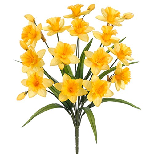 21'' Silk Daffodil Flower Bush -Yellow (pack of 12) by SilksAreForever