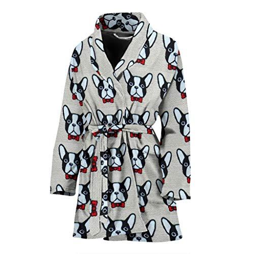(ANI & WOOD French Bulldog Pattern Print Limited Edition Women's Bath Robe)