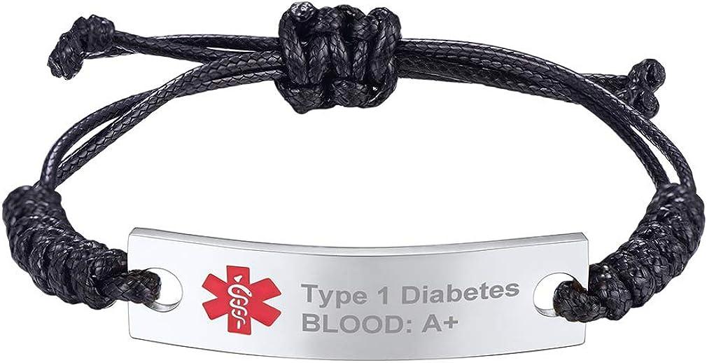 Supcare Cruz Roja Alerta Médica Personalizable Pulsera Medical Placa Acero Inoxidable Grabado Gratis Joyería Accesorio de Muñeca para Hombres y Mujeres Banda Ancha Cordón Nylon
