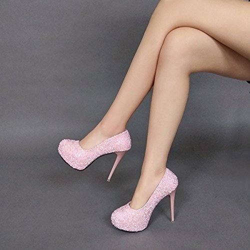 lustrini tacchi scarpe alti rotonda crystal impermeabile sola con spessore scarpa bene principessa centimetri matrimonio bright testa dodici tacchi grind i ros uno di GTVERNH sexy scarpe trentaquattro 7Oz1awq1