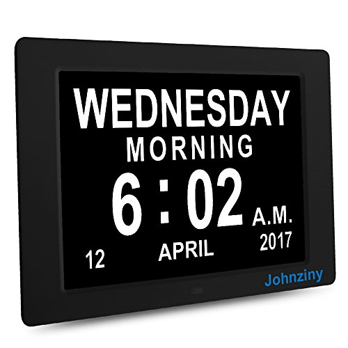 Johnziny 12 Inch Digital Calendar Day Clock- Kitchen Wall Alarm Clock- Extra Large Display Font Numbers & Impaired Vision Electronic Clock for Seniors (Wall Resolution Clock)