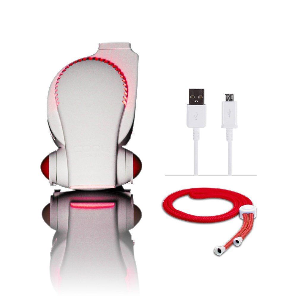 Cool On The Go! Personal Clip On Fan with LED Lights - Versatile Hands-Free Personal Cooling Device - USB Fan/Stroller Fan/Table Fan/Travel Fan/Wearable Fan/Tent Fan/Fan & More. Blue/White by COOLGO