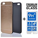 LIMITED STOCK SALE Iphone 6 Plus & 6S Plus [5.5] PREMIUM Pack Aluminum Case + Tempered Glass Screen Protector Brushed Alloy Impact Absorbent Shock Gold INO Metal PVC Skin Cover Motomo