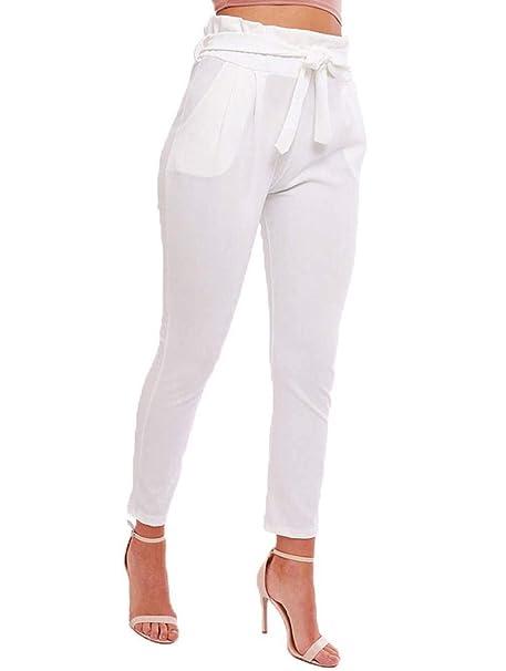 più foto b1048 5491f Pantaloni Lunghi da Donna di Moda Tasche Laterali Tinta Chic ...