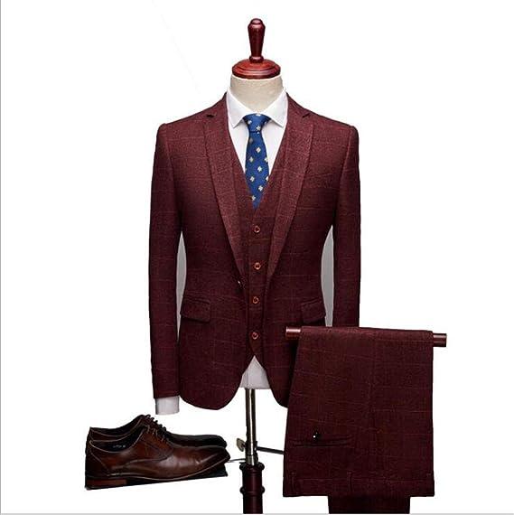 Carreaux De Fit Vestes À Slim Rouge Costumes Costume3 Pièces lF1c3u5TJK