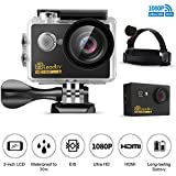 LeadTry GK7 Sport Action Camera 1080P Full HD Wi-Fi 12MP Waterproof Cam 2 LCD 30m Underwater 170 Degree Wide-angle Sports Camcorder with Head Belt Strap Mount and 22 Mounting Kits