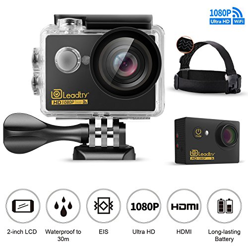 [Promotion]LeadTry GK7 Sport Action Camera 1080P Full HD Wi-Fi 12MP Waterproof Cam 2'' LCD 30m Underwater 170 Degree Wide-angle Sports Camcorder with Head Belt Strap Mount and 22 Mounting Kits by LeadTry