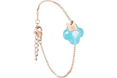 Zag Bijoux Bracelet chaîne trèfle, dorure Or Rose, Turquoise