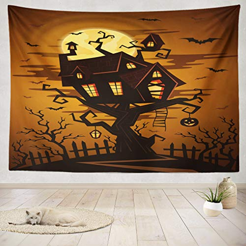 (ASOCO Tapestry Wall Handing Halloween Party with Silhouette Castle Spooky Forest Night Castle Tree Full Wall Tapestry for Bedroom Living Room Tablecloth Dorm 60X80)