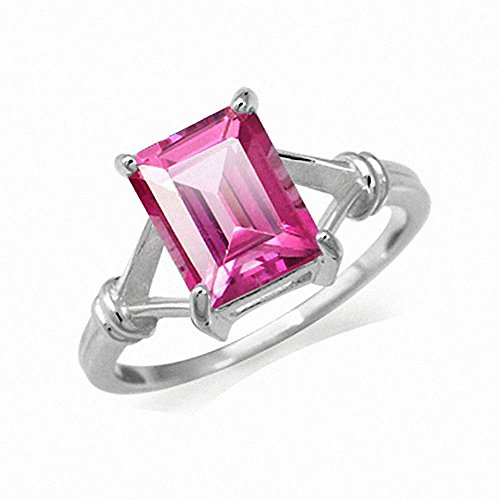 4.01ct. Pink Topaz 925 Sterling Silver Solitaire Ring Size 8