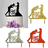 Acrylic Cake Cards,Efaster(TM) Romantic Wedding Cake Topper Insert Card Love Groom And Bride Acrylic Cake Kiss Dance (4 Colors)