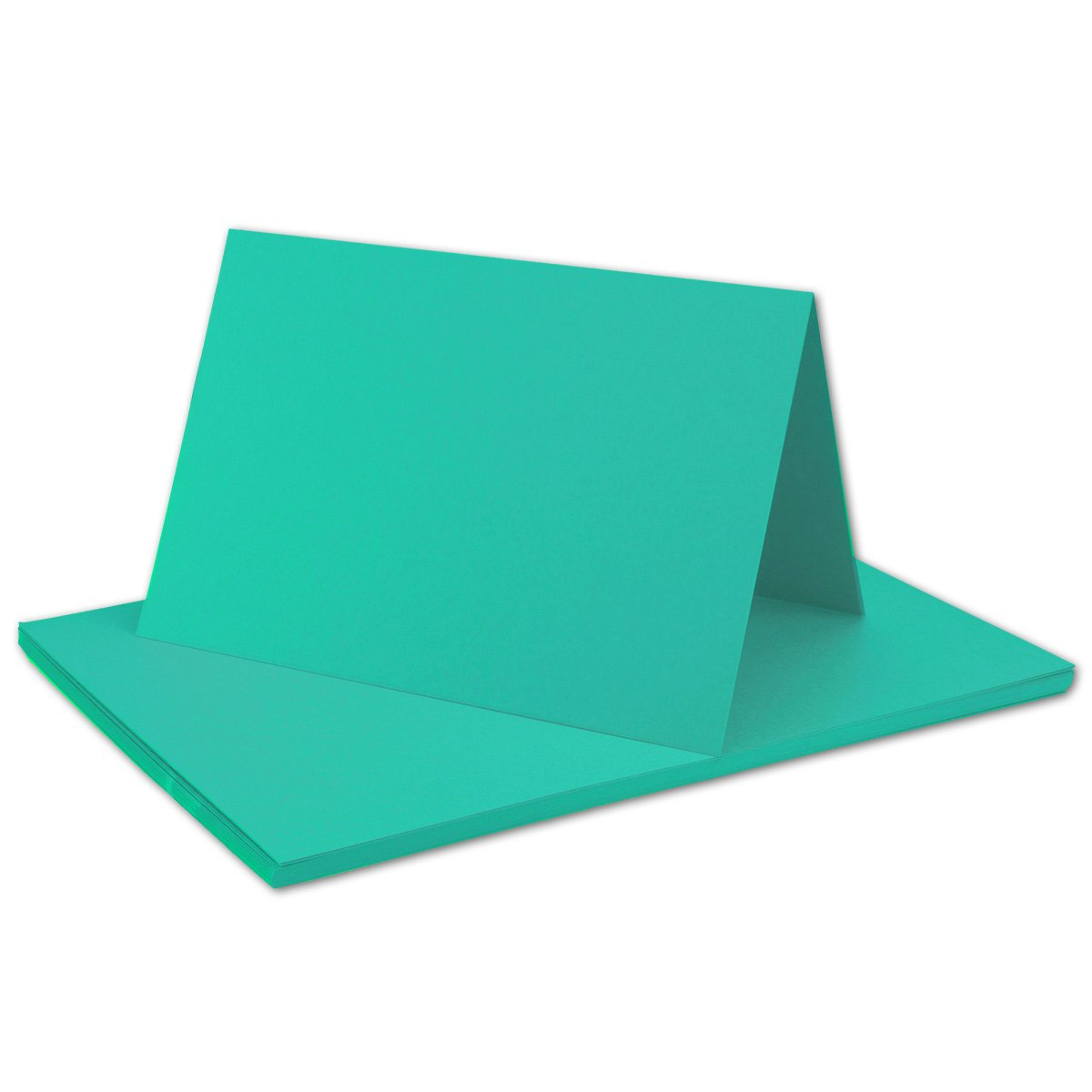 Premium Qualit/ät FarbenFroh/® 50x Falt-Karten DIN A6 Blanko Doppel-Karten in Pazifikblau 10,5 x 14,8 cm