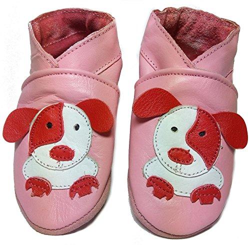 Krabbelschuhe, Krabbelpuschen, Hausschuhe, Babyschuhe - 16 Motive zur Wahl (L (22/23), Hund rosa)