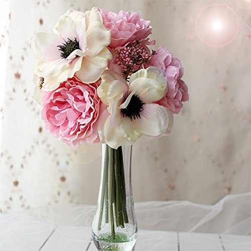 Sweet Home Deco 10'' Blooming Peony and Anemone Silk Artificial Wedding Bridal Bouquet/ Home Flower (No Pot Included) (Blush Pink) (Blue Pot Silk Arrangement)