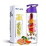 DIY Fruit Infuser Water Bottle 25 oz Detox Flip-Top Leak Proof BPA-Free Tritan with Recipe Book Birthday Gifts for Women Purple