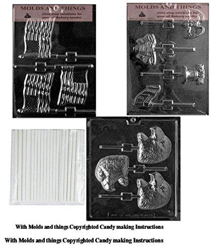 (4th of July American Candy Mold, American Flag Lolly Chocolate Candy Mold, Patriotic USA Chocolate Molds, Eagle,Liberty Bell,Flag with Copywrited Candy Making Instruction)
