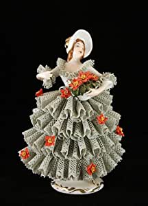 Lady with Poinsettia Flowers German Dresden Lace Porcelain Figurine