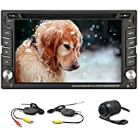 6.2-inch Double DIN GPS Navigation for Universal Car Free Wireless Backup Camera In Dash Headunit Win CE 8 Car Stereo Audio DVD Player Auto PC