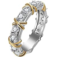 phitak shop Eternity Diamonique CZ 925 Silver & Yellow Gold Filled Wedding Band Ring New (10)