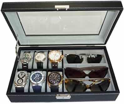 TimelyBuys 6 Piece Watch & 3 Piece Eyeglasses Leatherette Case Organizer (Black)