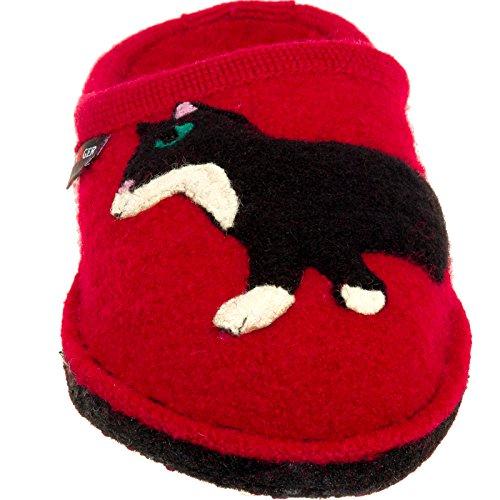 Pantoufles En Laine Bouillie Womens Haflinger - Babsy Chat Maison Intérieure Chaussure Rouge