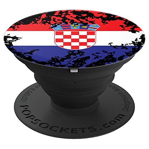 Croatian Flag Phone Grip Croatia Red White Blue Pride Gift - PopSockets Grip and Stand for Phones and Tablets ()