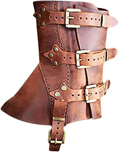 Mxssi Copristivali in PU Pelle Vintage Medioevo Shoes Cover Gothic Steampunk Vikings Pirate Copertura di Scarpe Lace-up Fermaglio Fegolabile Boot Cover