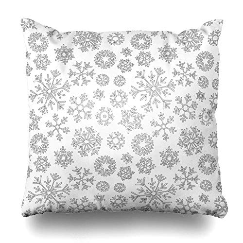 Ustcyla Throw Pillows Covers Page Abstract Christmas Pattern Snowflakes Coloring from Book Doodle Black White Adult Antistress Home Decor Pillowcase Square Size 18 x 18 Inches Cushion Case]()