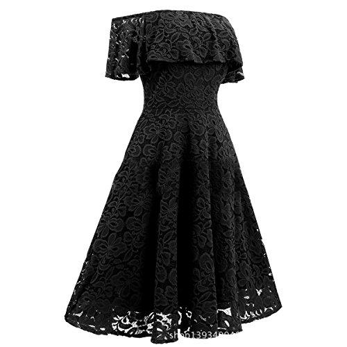 ZFFde In Vintage abito per Black Abito Chiffon Tendenza Di Sera Da In Donna da Abito donna Da Pizzo rBtUFzxrwq