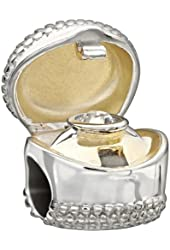 Chamilia Print Sterling Silver w/ Gold Plate & Stone I Do Ring Box Crystal Swarovski Charm Bead 2025-1102