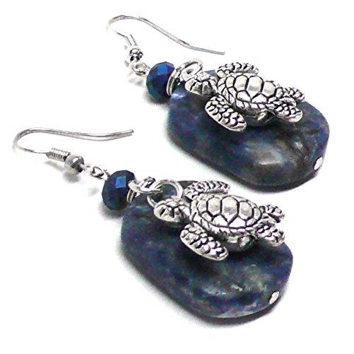 Pewter Turtle Lapis Lazuli Pierced Earrings