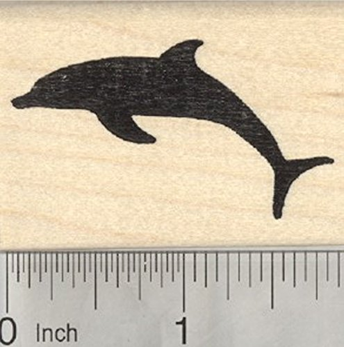 Dolphin Silhouette Rubber Stamp