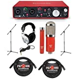 Focusrite Scarlett 2i4 2nd Gen Audio Interface - Bundle With MXL 550/551R Condenser Microphone Kit Red, 2x 20ft XLR Mic Cables, 2xBoom Mic Stands, Stereo Headphones