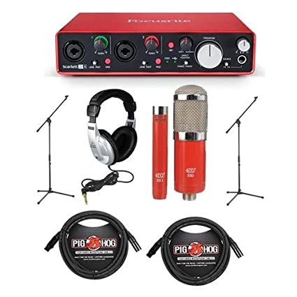 Focusrite Scarlett 2i4 2nd Gen Audio Interface with MXL 550/551R Condenser  Mic Red, 2x 8mm XLR Mic Cable, 2x Mic Stand & Stereo Headphones Bundle
