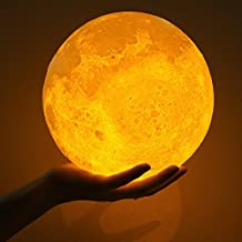 3D Print LED Moon Lamp, USB Rechargeable Color Changing Touch Control Dimmable Brightness Two Tone Moonlight Luna Light Nightlight, with Wooden Stand for Kids Bedroom (7.1 inch(18 cm))