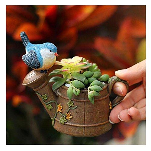 HEHEN Cute Animal Shaped Creative Cartoon Home Decoration Succulent Flower Pots/Resin Plant Pot (Blue Bird) ()