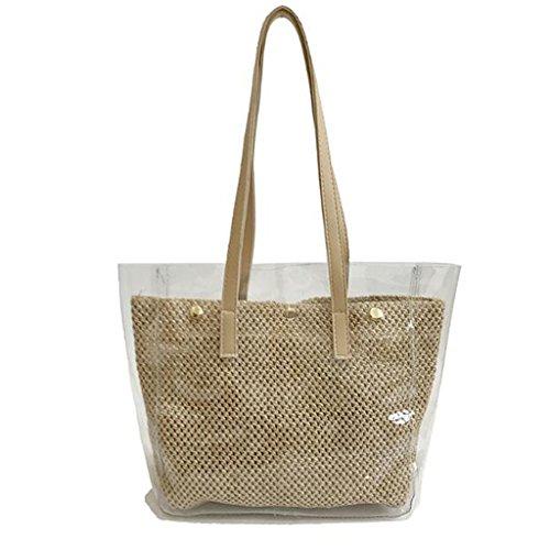 Liu Yu · House Creative Bag Crossbody Bag Buckle Wild Jelly Bag Straw Pvc Transparent Jelly Women (size: 30 * 11 * 30cm) (color: Black) Khaki