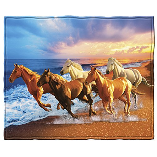 Dawhud Direct Horses on The Beach Fleece Throw Blanket